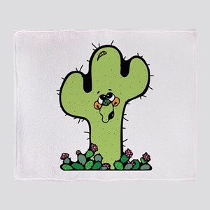 Happy Little Cactus Throw Blanket