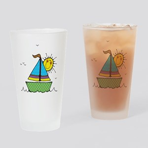 Cute Sail Boat and Sun Pint Glass