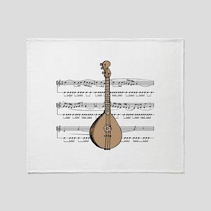 Mandolin and Sheet Music Desi Throw Blanket