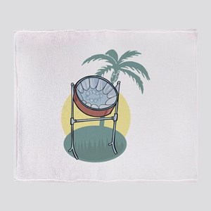 Steel Drum and Palm Tree Throw Blanket