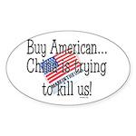 Buy American Sticker (Oval 50 pk)