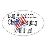 Buy American Sticker (Oval 10 pk)