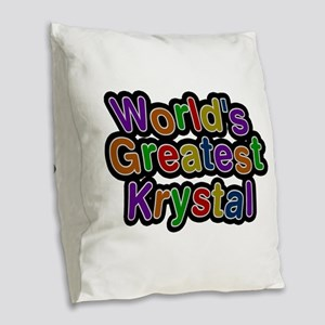 World's Greatest Krystal Burlap Throw Pillow