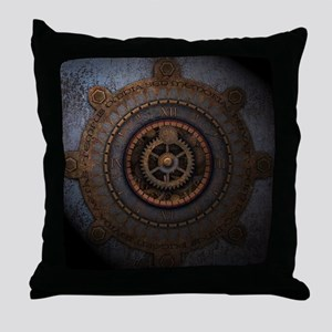Steampunk Clock Time Metal Gears Throw Pillow