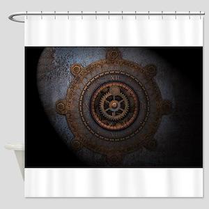 Steampunk Clock Time Metal Gears Shower Curtain