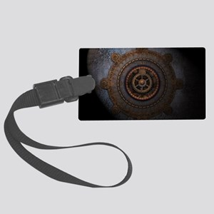 Steampunk Clock Time Metal Gears Large Luggage Tag