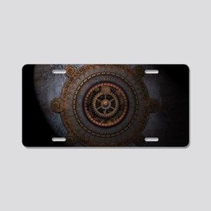 Steampunk Clock Time Metal Aluminum License Plate