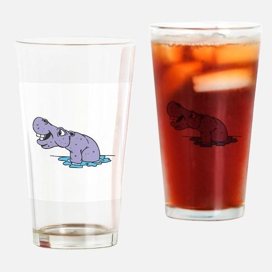 Cute Purple Hippo Pint Glass