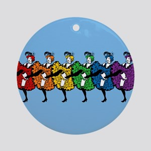 Rainbow CanCan Dancers Ornament (Round)
