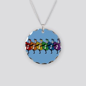 Rainbow CanCan Dancers Necklace Circle Charm