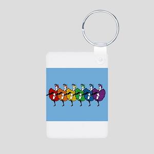 Rainbow CanCan Dancers Aluminum Photo Keychain