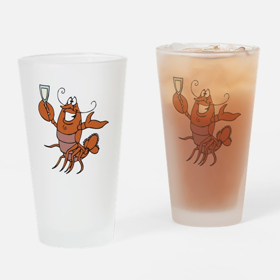 Toasting Wine Lobster Pint Glass