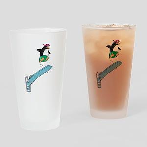 Funny Diving Penguin Pint Glass