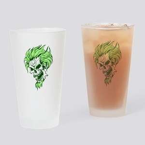 Crazy Hair Green Punk Skull Pint Glass