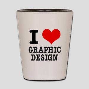 I Heart (Love) Graphic Design Shot Glass