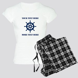Custom Nautical Ship Wheel Pajamas For Sailor Wife