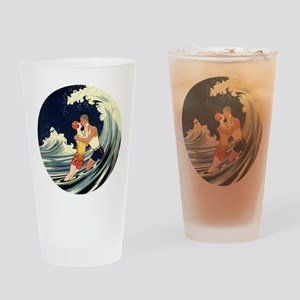 Vintage Art Deco Love in the Surf Drinking Glass