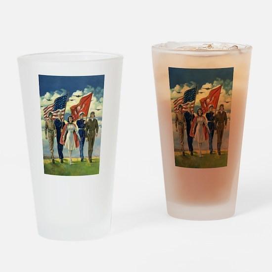 Vintage Patriotic Military Drinking Glass