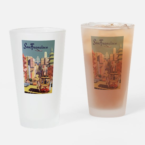 Vintage Travel Poster San Francisco Drinking Glass