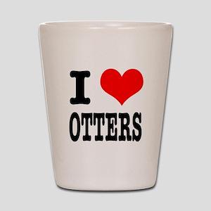 I Heart (Love) Otters Shot Glass