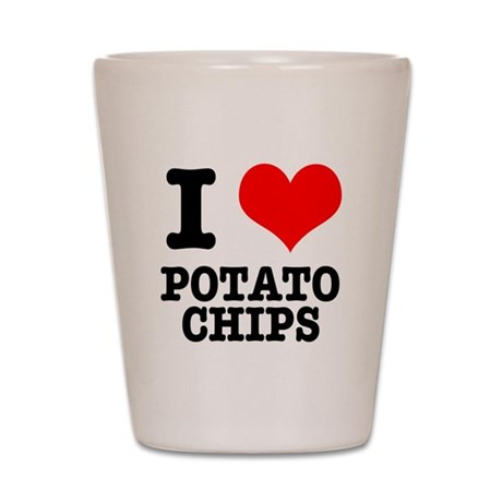 I Heart (Love) Potato Chips Shot Glass
