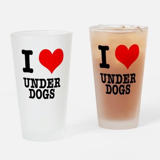 I Heart (Love) Under Dogs Pint Glass