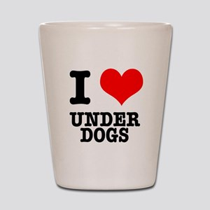 I Heart (Love) Under Dogs Shot Glass