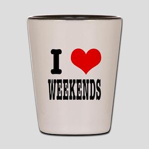 I Heart (Love) Weekends Shot Glass