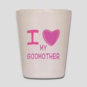 Pink I Heart (Love) Godmother Shot Glass