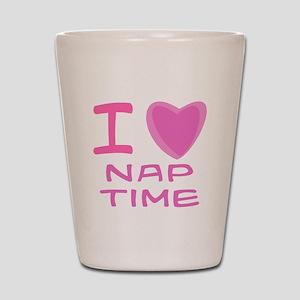 Pink I Heart (Love) Nap Time Shot Glass