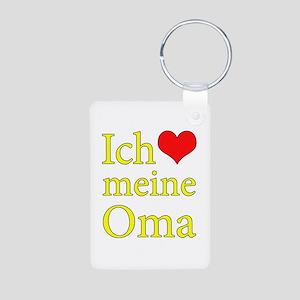 I Love Grandma (German) Aluminum Photo Keychain