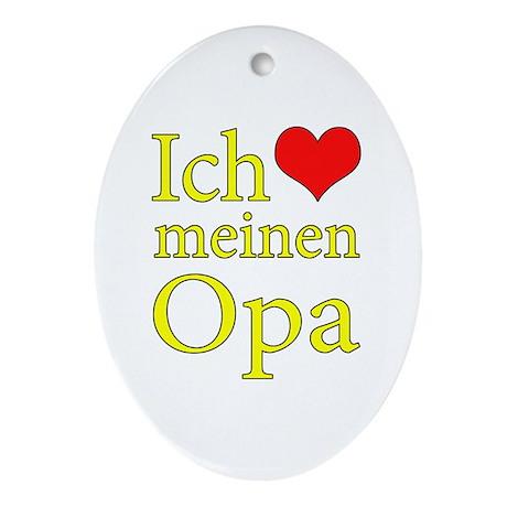 I Love Grandpa (German) Ornament (Oval)