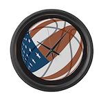 Flag basketball Large Wall Clock