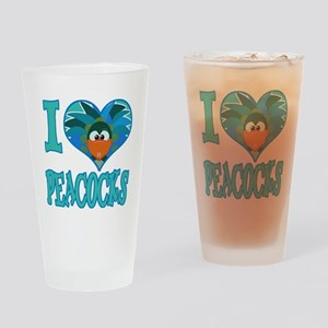 I Love (Heart) Peacocks Pint Glass