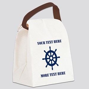 Custom nautical ship wheel Canvas Lunch Bag