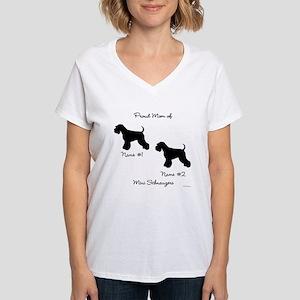 2 Schnauzers Women's V-Neck T-Shirt