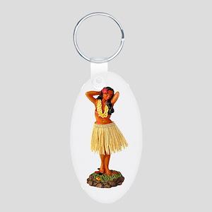 Hula Girl Aluminum Oval Keychain