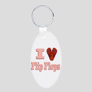 I love Flip Flops Aluminum Oval Keychain