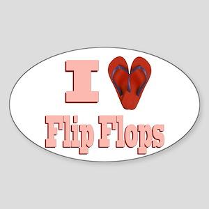 I love Flip Flops Sticker (Oval)