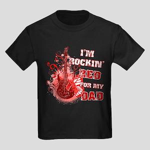 I'm Rockin' Red for my Dad Kids Dark T-Shirt