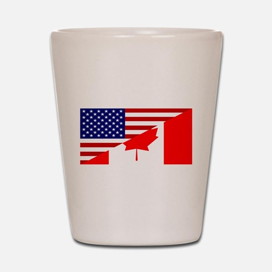 Canadian American Flag Shot Glass