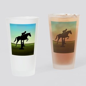 Hunter Jumper Grassy Field Drinking Glass