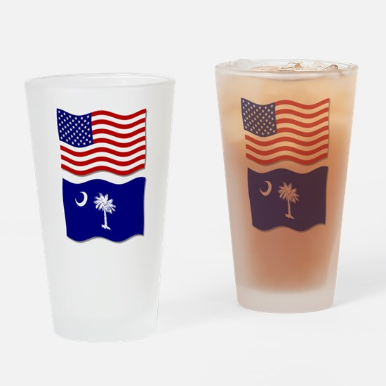 USA and SC Flags Pint Glass