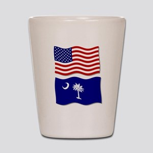 USA and SC Flags Shot Glass