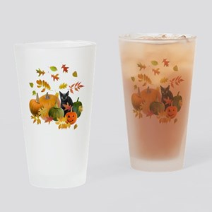 Black Cat Pumpkins Drinking Glass