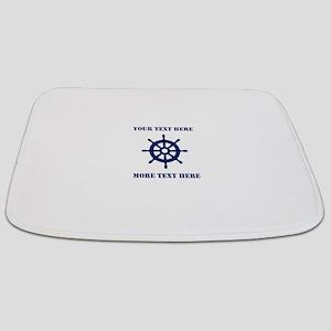Custom nautical ship wheel Bathmat