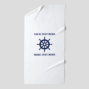 Custom Nautical Ship Wheel Beach Towel For Summer