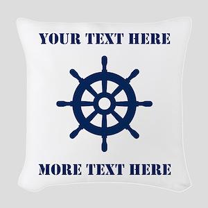 Custom Nautical Boat Wheel Woven Throw Pillow