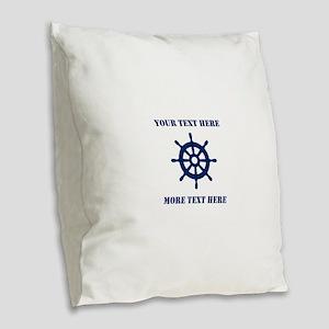 Custom nautical ship wheel Burlap Throw Pillow