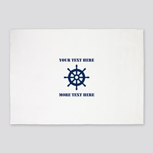 Custom nautical ship wheel 5'x7'Area Rug